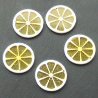 LEMON slice Resin Beads Pendants, 5 x Yellow