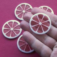 PINK GRAPEFRUIT slice Resin Beads Pendants, 5 x pink