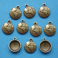 WORLD, EARTH, GLOBE Charms x 10, Antique Bronze Tone charm