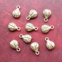 LADYBIRD Charms x 10, Antique Bronze Tone charm