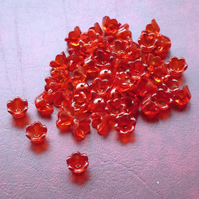 50 RED Tulip Flower Beads