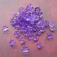 50 PURPLE Tulip Flower Beads