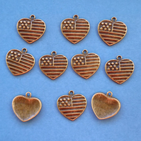 American Flag HEART Charms x 10, Antique Bronze Tone charm
