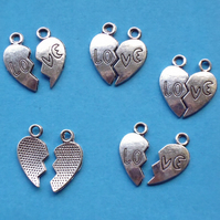Split HEART, broken heart Charms, 5 sets, antique silver tone, charm