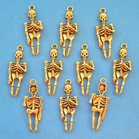 SKELETON Charms x 10, antique GOLD tone charm
