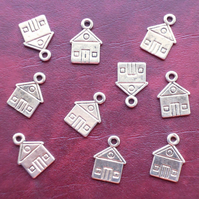 HOUSE Charms x 10, antique silver tone, charm, home, building