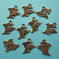DOLPHIN Charms x 10, antique GOLD tone charm