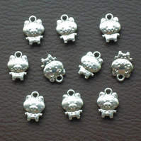 PIG Charms x 10, antique silver tone, charm, farmyard animals