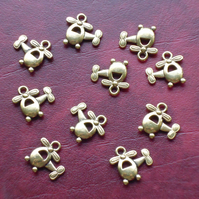 HELICOPTER Charms x 10, antique GOLD tone charm