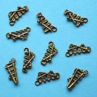 XYLOPHONE Charms x 10, antique GOLD tone charm, musical instrument