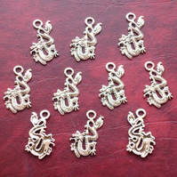 DRAGON Charms x 10, antique silver tone, charm