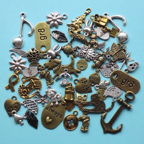 Charm Mix, 50 charms, everything pictured, antique silver, gold and bronze