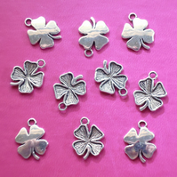 4 LEAF CLOVER Charms x 10, antique silver tone, charm