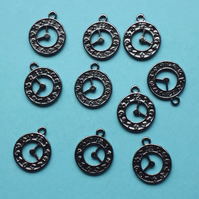 10 x CLOCK Charms, Black Tone charm