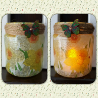 Daffodil Candle Holder. Recycled Glass Jar Light. Yellow.