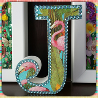 Letter J, with Flamingos, freestanding initials