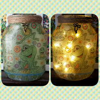 Frog Nightlight. Recycled Glass Jar Lamp. With Fairy Lights