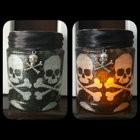Skull and Crossbones Candle Holder. Recycled Glass Jar Light. Vase, Pen holder