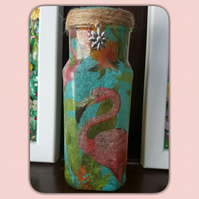 Flamingo Vase. Recycled Glass Jar Light. Nightlight, Pen holder, Candle Holder