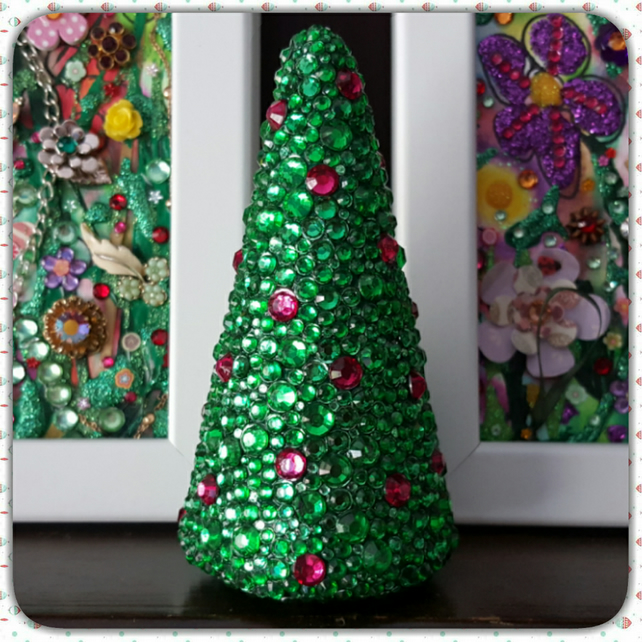 Rhinestone Christmas Tree, green with pink