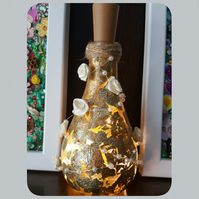 Gold Leaf Bottle Lamp, with Pearls and flowers, Upcycled, Recycled, fairy lights