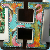 Letter H, with Flamingos, freestanding initials, with glitter and rhinestones