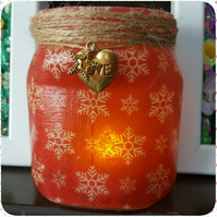Snowflake Candle Holder. Recycled Jar Light. Christmas Vase, Red Pen holder