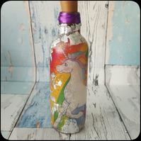 Unicorn Bottle Lamp, with silver leaf, Upcycled, Recycled with fairy lights.