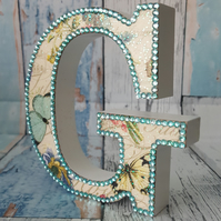 Letter G, with Butterflies, freestanding initials, with glitter and rhinestones