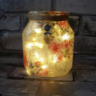 Floral Upcycled Jar. Vase. Pink and Grey Flowers, with Fairy Lights