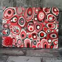 Abstract Painting, Drips, Red, Black and White Acrylic Art