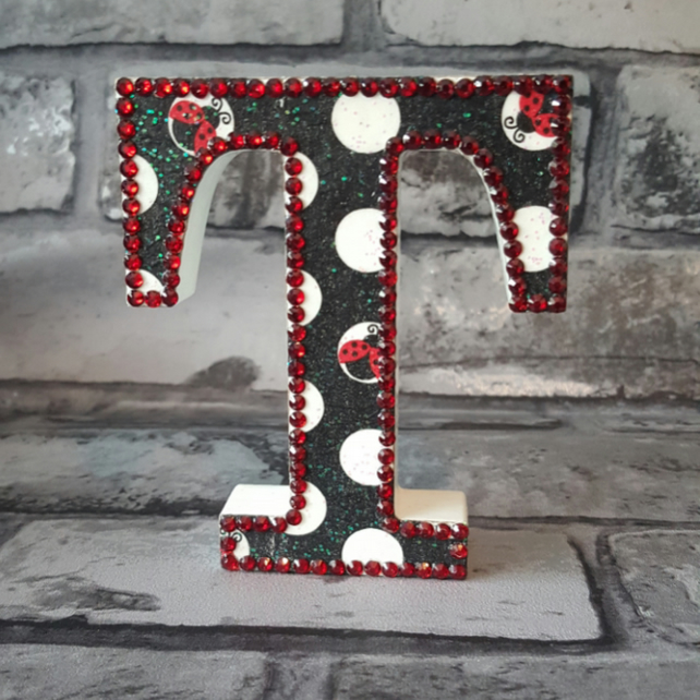 Letter T, Polka Dots and Ladybirds, freestanding initials