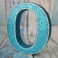 Letter O, turquoise glitter initial, freestanding initials