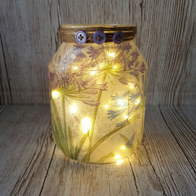 Agapanthus Upcycled Jar. Vase. Blue and Purple Flowers, with Fairy Lights