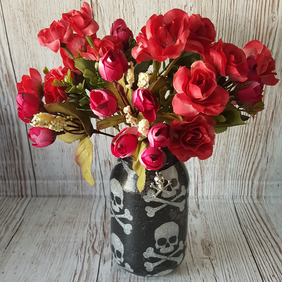Skull and Crossbone Vase, Candle Holder. Recycled Jar Light. Pen holder