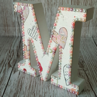 Letter M, Hearts and Roses, freestanding initials, pearls