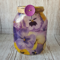 Pansy Upcycled Jar. Vase. Purple and Yellow Flowers, with Fairy Lights