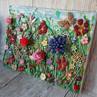 Summer Meadow Collage. Upcycled elements. Mixed media. Ready to hang Art