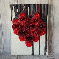 Heart on Acrylic Painting. Mixed media Artwork. Ready to hang Art