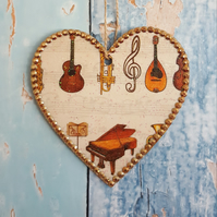 Musical Instrument Heart, Hanging decoration, wedding favour, bridesmaids gift