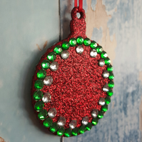 Red Glitter Christmas Tree decoration, with  green and silver rhinestones