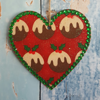 Christmas Pudding Heart, Hanging decoration, Xmas colours
