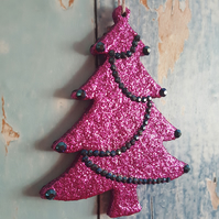 Christmas Tree decoration in magenta pink glitter, with blue-black rhinestones