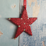 Star Christmas Tree Decoration, Red glitter, with rhinestones