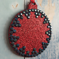 Red Glitter Christmas Tree decoration, with blue black rhinestones