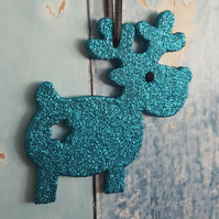 Reindeer Christmas Tree decoration, turquoise glitter