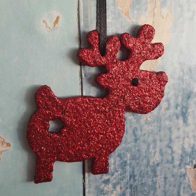 Reindeer Christmas Tree decoration, red glitter