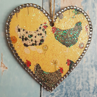 Chicken Heart, Hanging decoration, country cottage chic