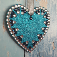 Turquoise Glitter Heart, Hanging decoration, Christmas Tree dec, sun catcher