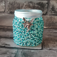 Blue Rhinestone Jar. Recycled, upcycled, vase, pen holder